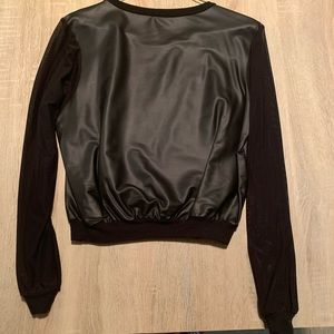American Apparel Faux leather shirt w mesh sleeves